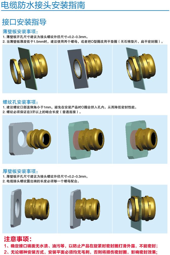 产品安装示意图: 【上海佐观】防爆电缆加紧夹紧密封接头不锈钢防水