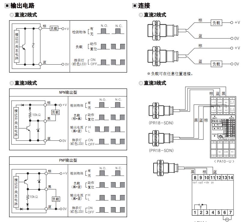 电感型接近开关 pr12-4dn2 npn nc 圆柱形 直流三线