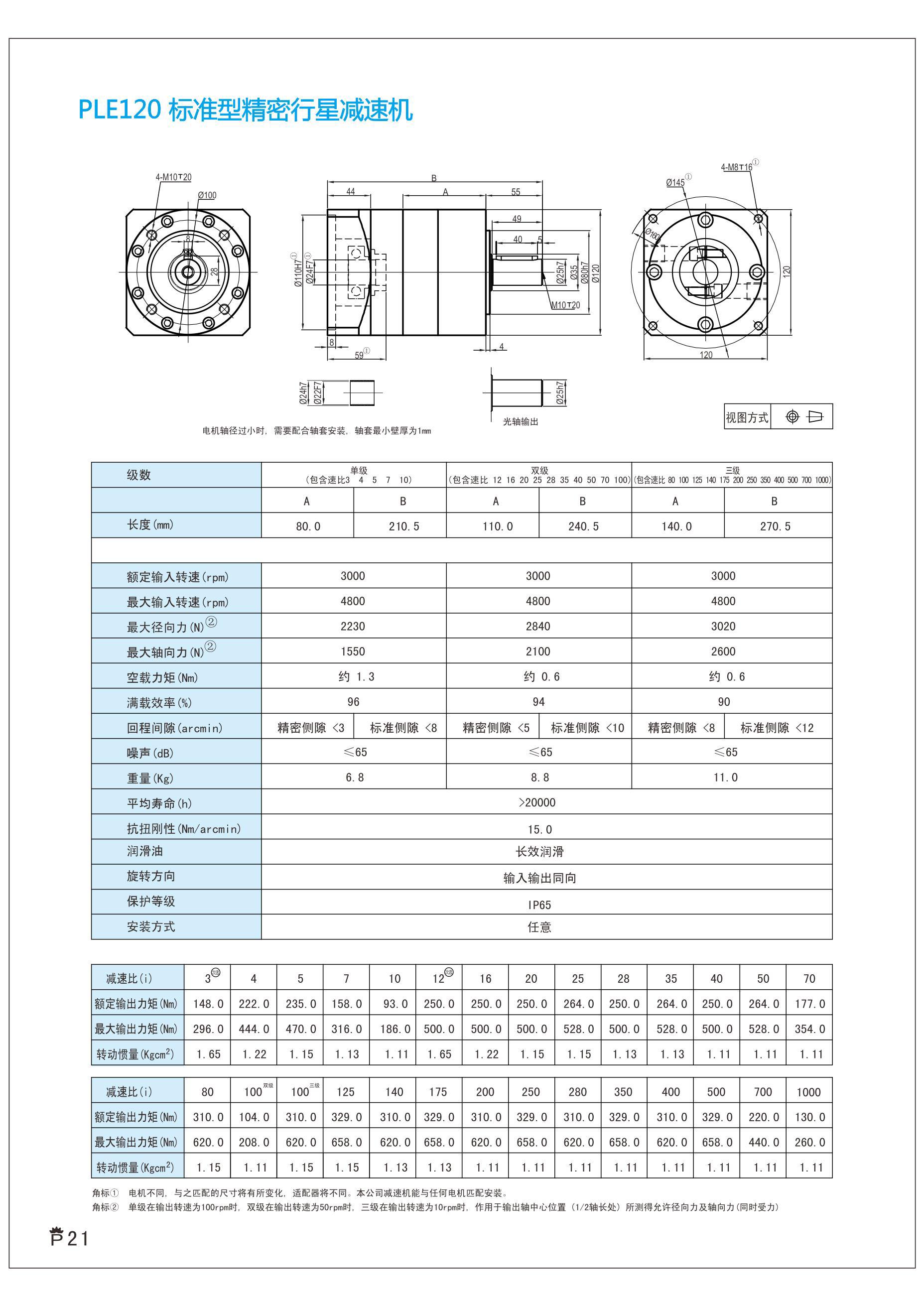 上海兆迈传动现货供应PLE120-L2-25-S2-P2精密行星减速机可配1.5KW伺服电机110步进电机