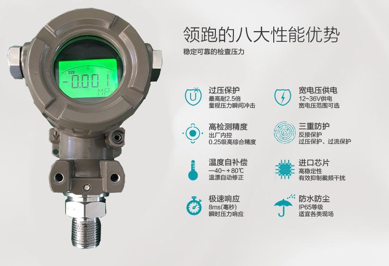 2088单法兰隔膜式压力变送器现场显示DN50智能压力变送控制传感器 2088智能压力变送器,2088数显压力变送器4-20ma,智能扩散硅压力传感器,恒压供水榔头型压力变送器,2088扩散硅智能数显传感器防爆