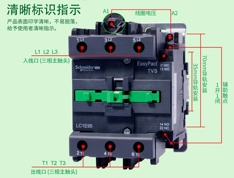 施耐德LC1-E80交流接触器 LC1E80M5N AC220V 80A三相三常开 110V 施耐德接触器