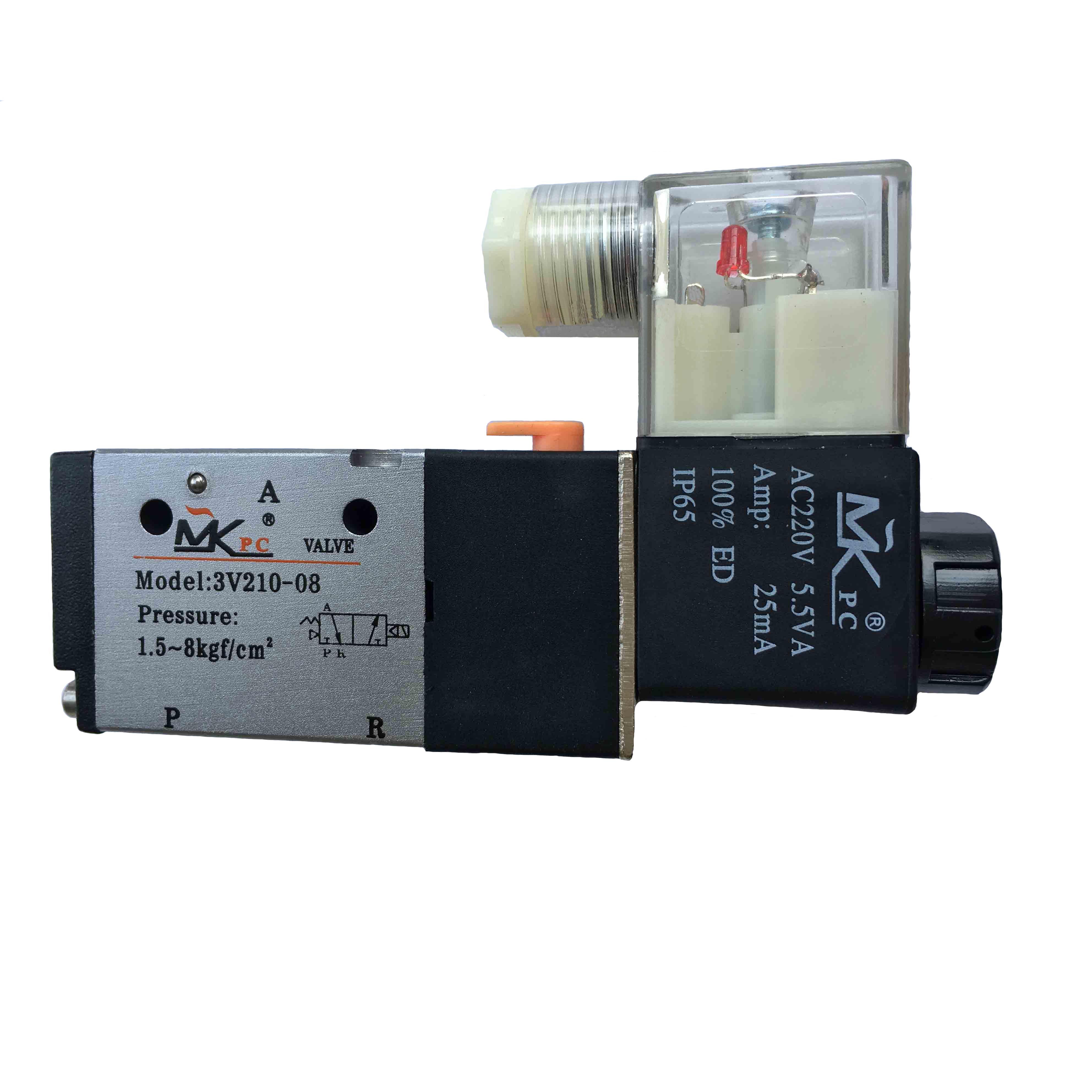 电磁阀3V210-08 3V系列两位三通单电控阀 DC24V AC220V