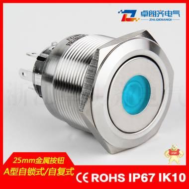 【卓朗齐】厂家直销 防水 单点发光 自锁 自复 25mm 金属按钮开关