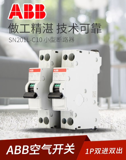 ABB断路器空气开关1P10A DPN双进双出空开SN201L-C10 小型断路器